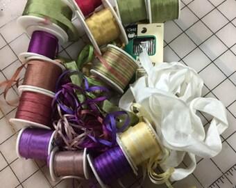 Ribbon assortment with Needle Pack, 2,4,7,13,32 mm  assorted yardage