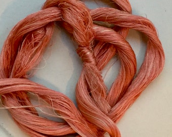 VARIEGATED Apricot stranded silk thread. One yard skein.