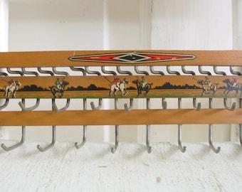 Vintage Metal Rack, Vintage Tie Rack, Jewelry Holder, Jewelry Organizer, Vintage Horse Rack, Vintage Polo Rack, Vintage Wood Metal Rack