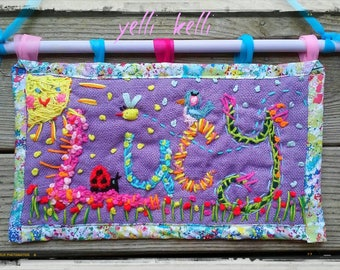 Freehand Embroidered  Bohemian Name Wall Hanging Made To Order