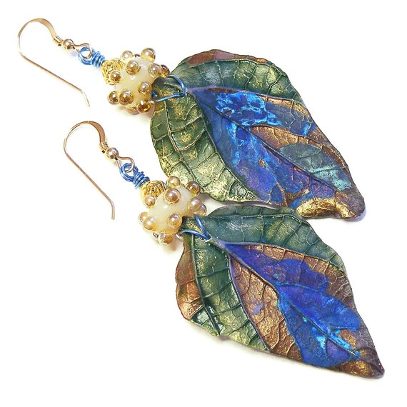 Unique Organic Leaf Earrings, Handcrafted Polymer Clay, OOAK (One of a Kind) Wearable Art Jewellery, Unique