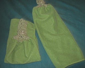 Two Crochet Hanging Towels, microfiber, Green with green top