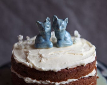 Two Foxes - Wedding Cake Topper in Light Blue