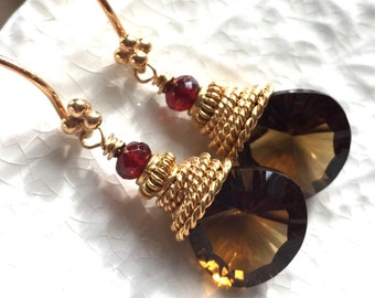 "Cognac Quartz and Garnet Earrings-""Hearthside"""