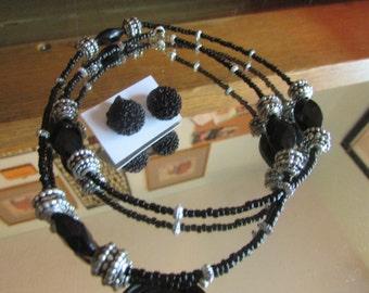Black silver necklace