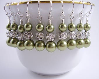 Greenery Bridesmaid Earrings - Green Pearl Earrings - Bridesmaid Earrings - Bridal Party Shop - Gifts for Moms - For Her - Prom Earrings