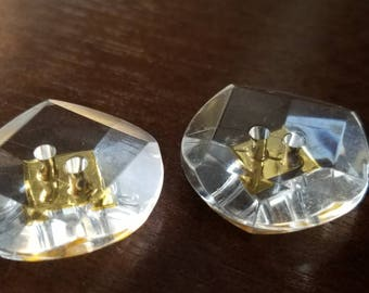 Vintage Buttons - Lot of 2 matching  faceted Lucite, with gold accent center (mar 246 17)