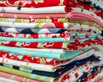 19 Fabric Bundle of Bonnie & Camille's VINTAGE PICNIC in Multi Cotton Quilting Fabric
