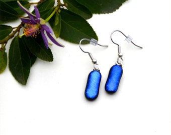 146 Fused dichroic glass earrings, rectangle, blue, shiny