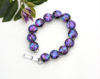 81 Dichroic fused glass link cabochon bracelet, blue purple green