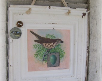Handmade Magnet Board Vintage Bird Altered Art Vintage Repurposed Ceiling Tin Antique Ceiling Tin Wall Hanging Shabby White Magnet Board