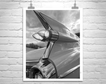 Mid Century, Automotive Art, Cadillac Picture, Tail Fins, Car Photography, Vintage Cadillac, Old Cadillac, Boyfriend Gift, Ready to Hang