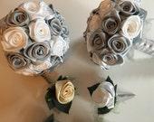 Wedding bouquets/bridemaid bouquets/white boutonniere/ silver boutonniere FOR JENNIFER