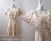 Vintage Mexican Huichol Dress Size L XL Cream Hippie Boho wedding Lace Gauze