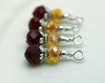 Vintge Style Red Rondelle Crystal with Yellow/Orange and Silver Bead Dangle Charm Drop Set - Earring Dangle, Charm, Drop, Pendant