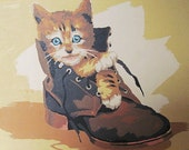 Vintage Paint By Number / Kitten In a Boot / Tabby Cat / Vintage PBN