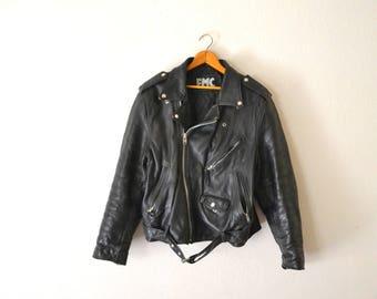 1980's FMC Black Leather Motorcycle Jacket