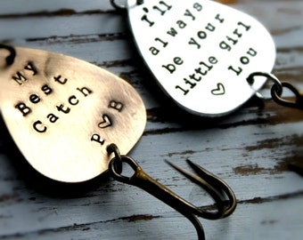 FREE SHIPPING- Personalized Handstamped Brass Fishing Lure. Customized for you! Perfect Stocking Stuffer for Dad or Grandfather!