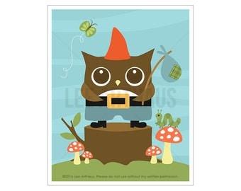 89A Owl Print - Owl Gnome Wall Art - Whimsical Animal Art - Funny Owl Print - Owl Art - Woodland Nursery Decor - Owl Lover Gift - Owl Decor