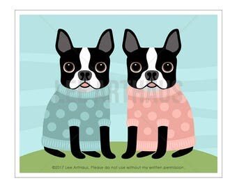 99D Dog Art Print - Two Boston Terriers in Sweaters Wall Art - Boston Terrier Print - Boston Terrier Art - Funny Dog Art - Dog Lover Gift