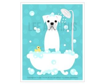 113d dog print white boxer dog in bubble bath wall art bath prints
