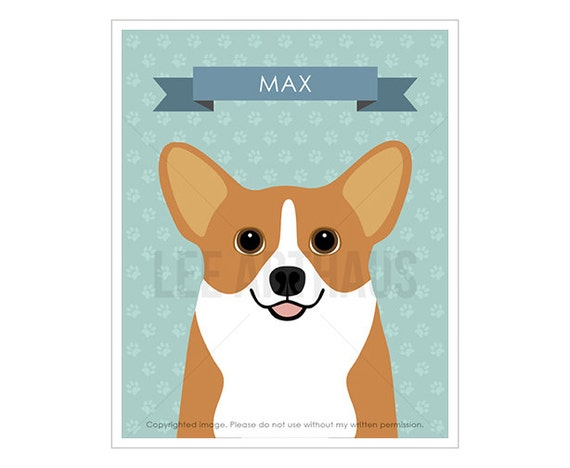 7N Dog Print - Personalized Corgi Dog Wall Art - Dog Nursery Art - Corgi Prints - Custom Dog Prints - Dog Lover Gift - Pembroke Welsh Corgi
