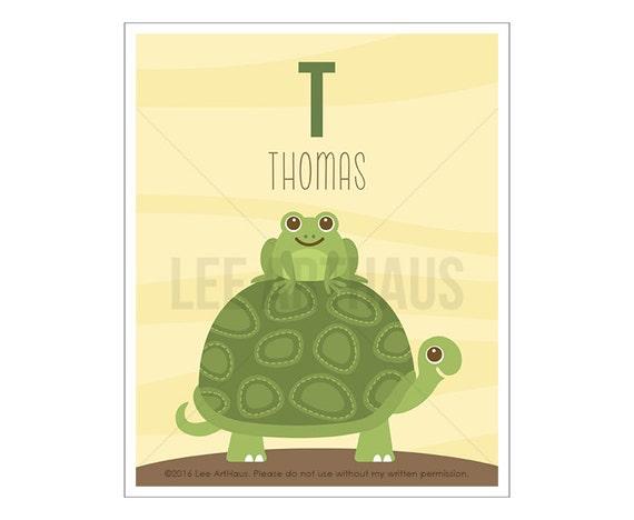 139P Turtle Print - Personalized Letter T Green Turtle Wall Art - Turtle Poster - Custom Baby Boy Gift - Baby Boy Nursery Art - Custom Art