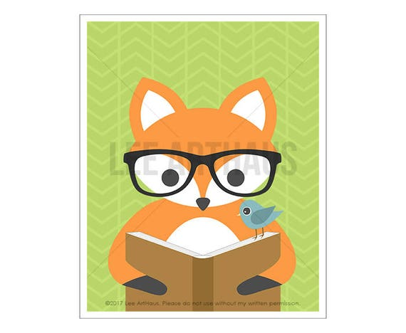 134A - Fox Drawing - Cute Fox Reading Book Wall Art - Baby Fox Nursery Decor - Fox Drawing - Woodland Animals - Glasses Print - Book Art