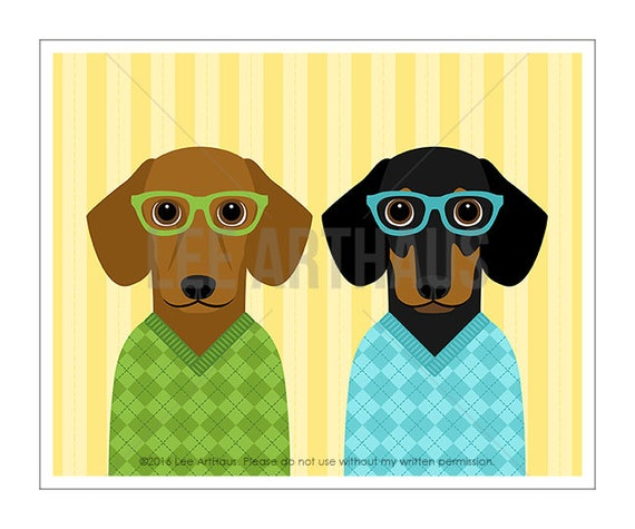 288D Dog Lover Gift - Two Dachshunds Wearing Argyle Sweaters Wall Art - Best Friend Gift - Brothers Wall Art - Dachshund Drawing - Dog Gift