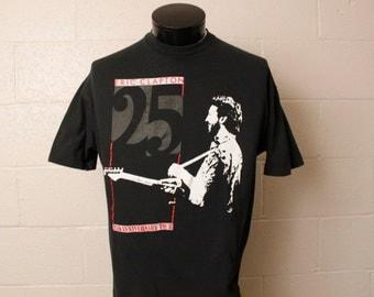 Vintage 1980's Eric Clapton 25th Anniversary Black Tshirt XL
