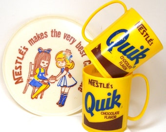 70's Nestle's Quik Chocolate set, 2 mugs with plate. Tea party.