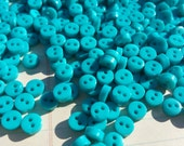 "Tiny Turquoise Buttons - Little Sewing Button - 1/4"" Wide - 6mm - 100 Buttons"
