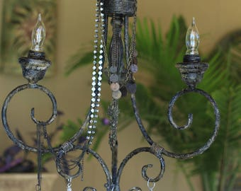 Steampunk Chic 3 arm chandelier