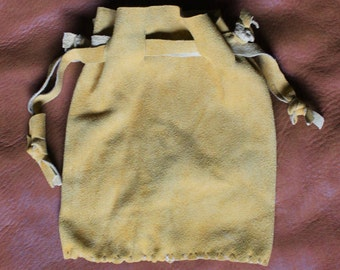 Gold deerskin suede leather drawstring pouch bag for tarot runes dice