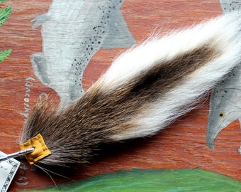Deer tail - real eco-friendly natural whitetail deer totem tail on carabiner keychain for shamanic ritual and dance DR01