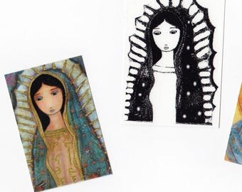 Your choice print  - ACEO Giclee prints  (2.5 x 3.5 inches) Folk Art  by FLOR LARIOS