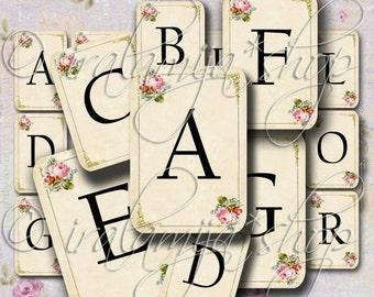 SALE SHABBY ALPHABET Cards Collage Digital Images -printable download file- Scrapbook paper