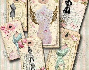 SALE DRESS FORM Tags Collage Digital Images -printable download file-
