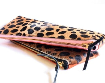 Color Block -Leopard Print and Orange Leather Pencil Make Up Zipper Pouch