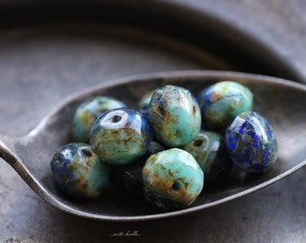 SUMMER SKIES No. 2 .. 10 Premium Czech Picasso Rondelle Glass Beads 6x8-9mm (5485-10)