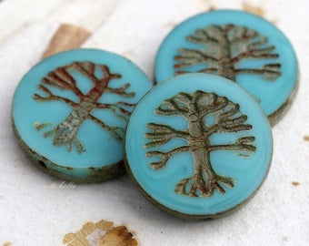 TREE OF LIFE No. 5689 .. 1 Premium Picasso Czech Glass Bead 22mm (5689-1)
