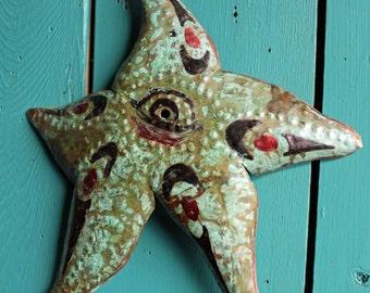 Sea Star Spirit - copper metal starfish tribal art sculpture - Pacific Northwest Coast Indian inspired - turquoise blue-green patina - OOAK
