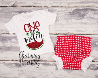 NEW Baby Girl Summer Watermelon Outfit, Onesie, Toddler Set, Glitter Top Bloomies, Patriotic Red Gingham One in a Melon Charming Necessities