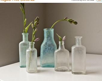 Sale Vintage  Glass Bottles,  Antique Medicine Bottles, Glass Bud Vases