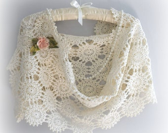 Crochet Wrap Shawl White Wedding Shawl Mother of Bride Shawl Evening Wrap