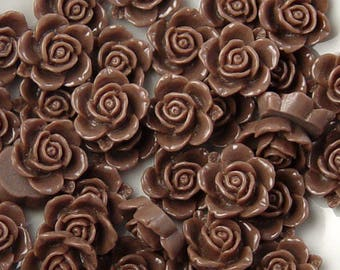 Cabochon Flower 14 Resin Round Rose Flower Opaque 15mm Chocolate Brown (1013cab15m6-13)