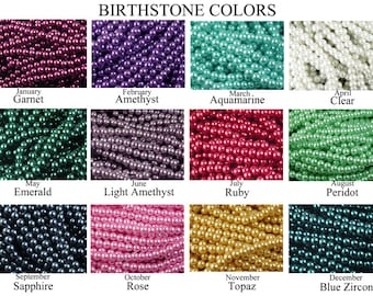 LIMITED Glass Pearl Bead 600 Birthstone Set Pearl Round (1 Strand of each 12 Birthstone color months) Dyed 8mm (1018bsp08-01)