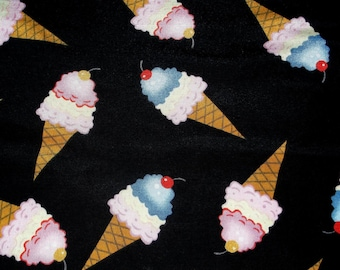 Ice Cream Cone Polyester 4way Stretch ITY Fabric BTY