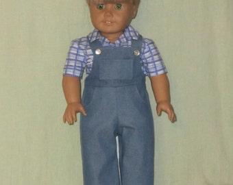 American Girl 18 inch Doll Blue Denim Bib Overalls and Plaid Shirt