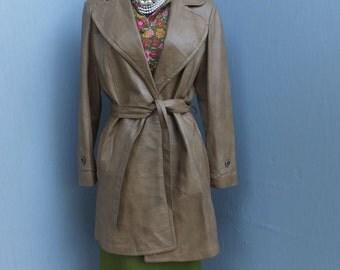 Vintage Leather Jacket or Coat, Lady Scully, Western Style Leather Coat, Quality Leather Car Coat, Ladies Coat Size 12